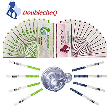 【Made in USA】 DoublecheQ 50 LH + 20 HCG Ovulation Test Strips & Pregnancy Test Strips Combo Kit with...