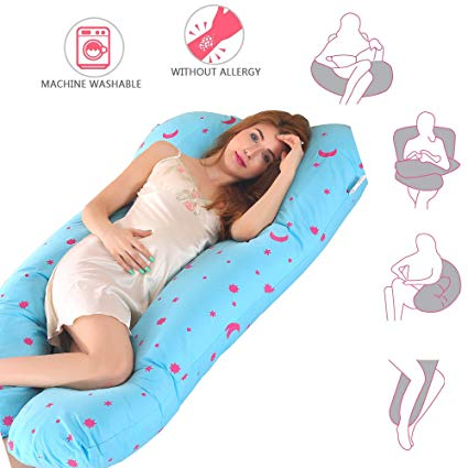KWLET Pregnancy Pillow For Growing Tummy Support Full Body Maternity Pillow with Contoured U-Shape Back Support For Mother With Zipper Removable Cover Mother's Sleeping Pillow (moonblue)